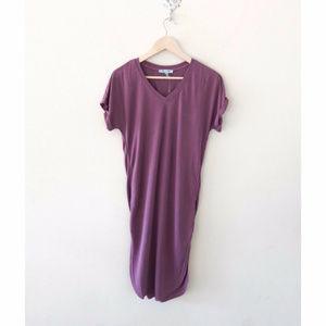 NWT Boutique T-Shirt Midi Dress, Soft Mauve V Neck